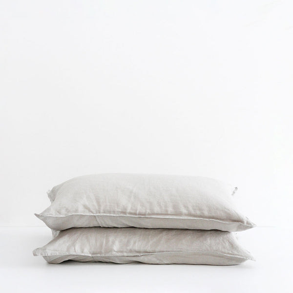 A&C Flax Linen Pillowcases - Smoke Grey