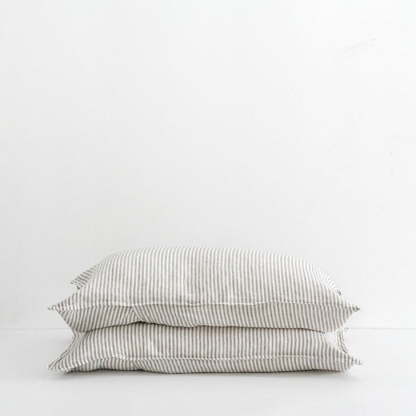 A&C Flax Linen Pillowcases - Stripe Grey