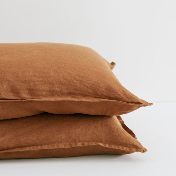 A&C Flax Linen Pillowcases - Terracotta
