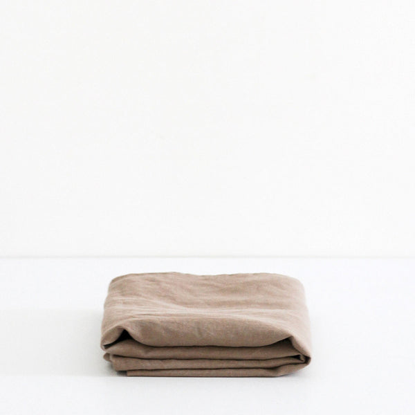 A&C Flax Linen Fitted Sheet - Nutmeg