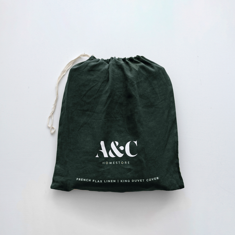 A&C Flax Linen Duvet Cover - Hunting Green