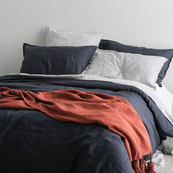 A&C Flax Linen Duvet Cover - Midnight Navy