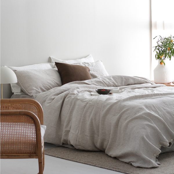 A&C Flax Linen Duvet Cover - Stripe Grey