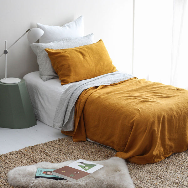 A&C Flax Linen Duvet Cover King Single - Marigold