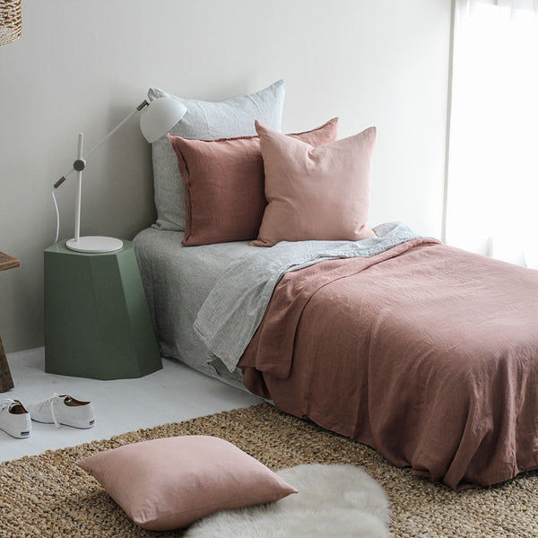 A&C Flax Linen Duvet Cover King Single - Moss Rose
