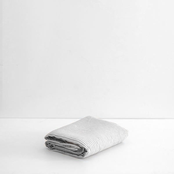 A&C Flax Linen Flat Sheet - Stripe Grey