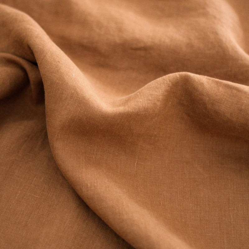 A&C Flax Linen Fitted Sheet - Terracotta