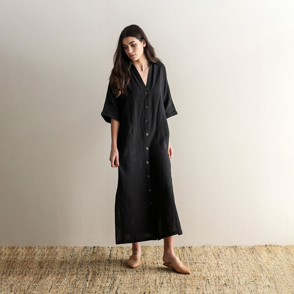 Claud Linen Duster Dress - Black