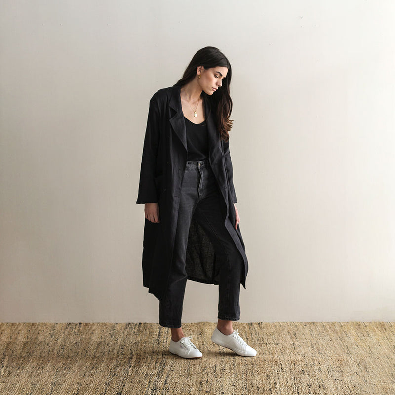 Tayla Long Linen Coat - Black