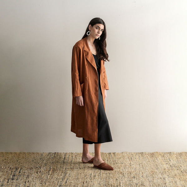Tayla Long Linen Coat - Cuban