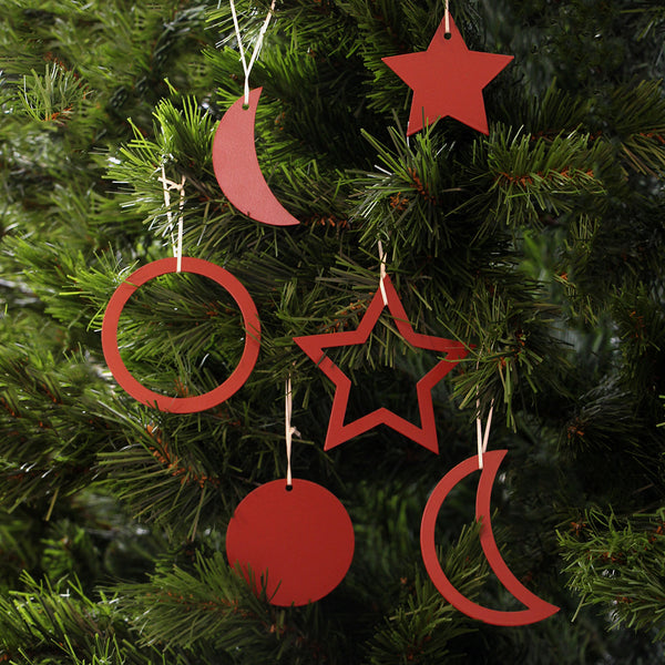 Christmas Decorations set of 6 - Pioneer Red