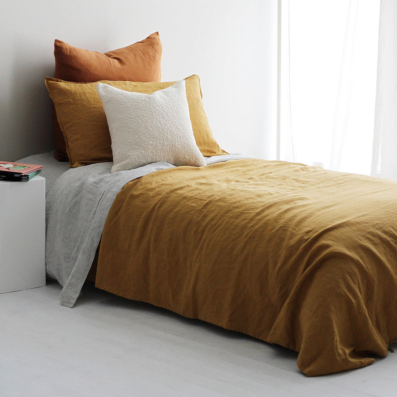 A&C Flax Linen Duvet Cover Set King Single - Ginger