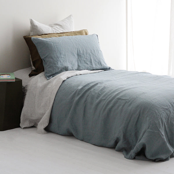 A&C Flax Linen Duvet Cover Set King Single - Lake