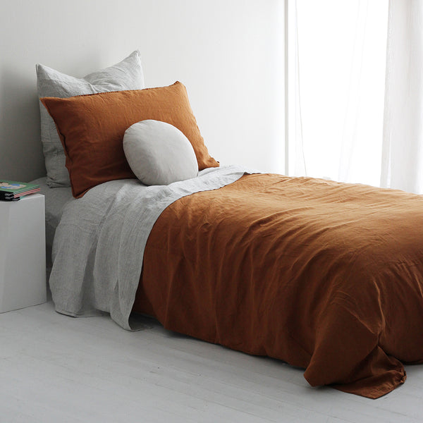 A&C Flax Linen Duvet Cover King Single - Terracotta