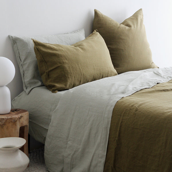 A&C Flax Linen Duvet Cover - Olive Green
