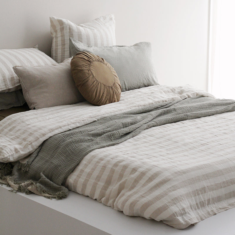A&C Flax Linen Duvet Cover - Natural Wide Stripe