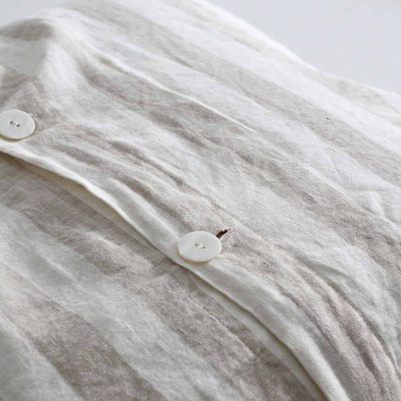 A&C Flax Linen Euro Pillowcase - Natural Wide Stripe