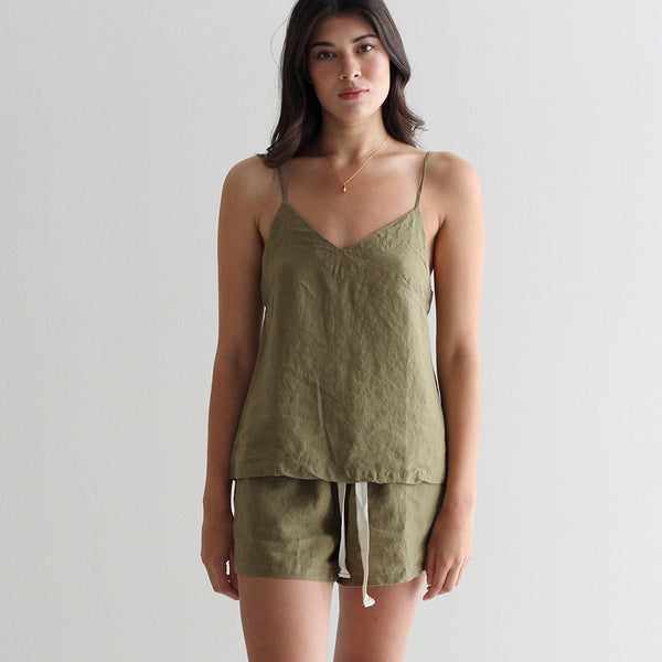 A&C Linen Lounge Cami - Olive