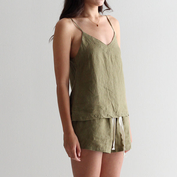 A&C Linen Lounge Shorts - Olive