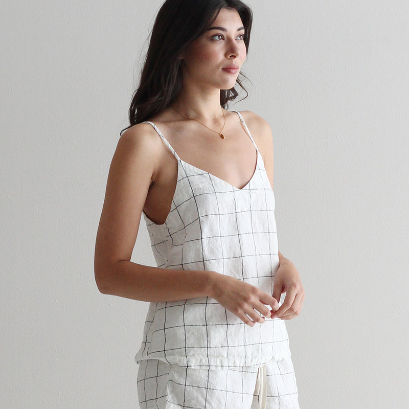 A&C Linen Lounge Cami - White/Black
