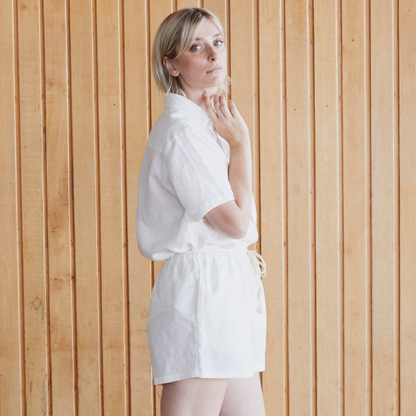 A&C Linen Lounge Short - Off White