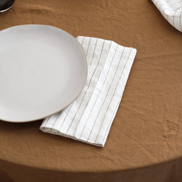 A&C Linen Napkin Set of 4 - Olive Stripe