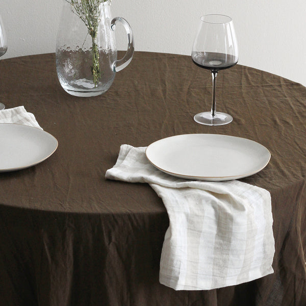 A&C Linen Napkin Set of 4 - Natural Wide Stripe