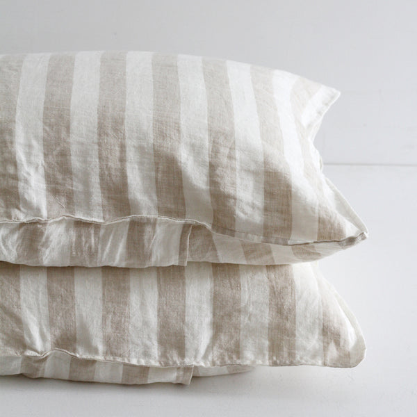 A&C Flax Linen Pillowcases - Natural Wide Stripe