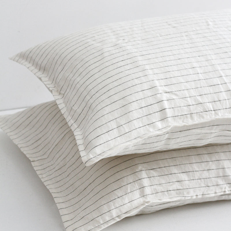 A&C Flax Linen Pillowcases - Olive Stripe