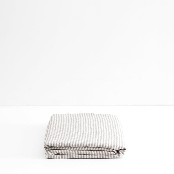 A&C Flax Linen Fitted Sheet - Stripe Grey
