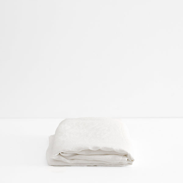 A&C Flax Linen Fitted Sheet - Ivory