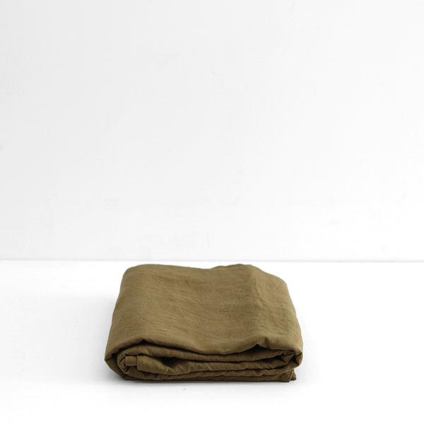 A&C Flax Linen Fitted Sheet - Olive