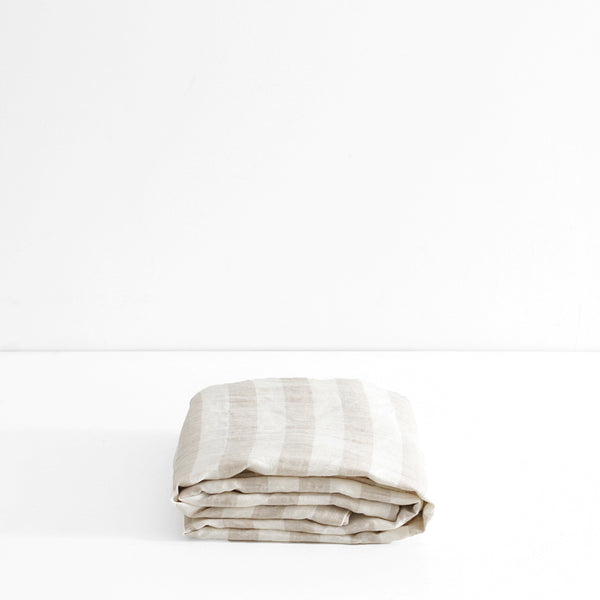 A&C Flax Linen Fitted Sheet - Natural Wide Stripe