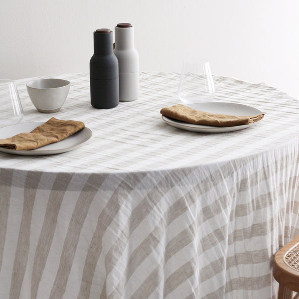 A&C Linen Table Cloth - Natural Wide Stripe