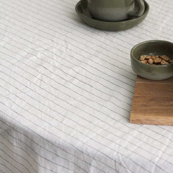 A&C Linen Table Cloth - Olive Stripe