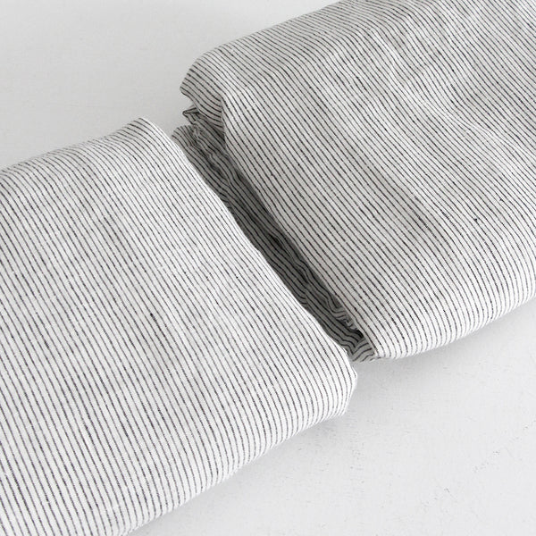 A&C Flax Linen Sheet Set, King Single - Pinstripe