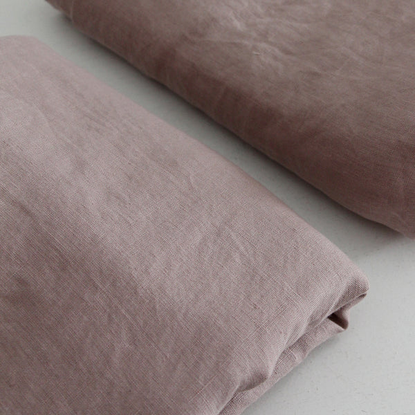 A&C Flax Linen Sheet Set, King Single - Rosewood