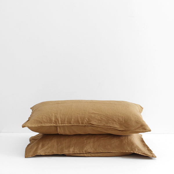 A&C Flax Linen Pillowcases - Chai