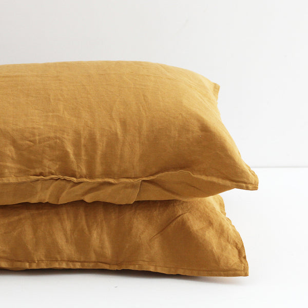 A&C Flax Linen Pillowcases - Ginger