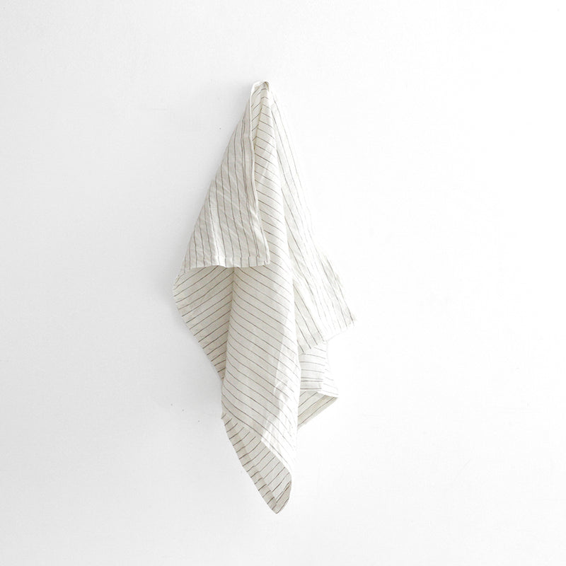 A&C Linen Tea Towel - Olive Stripe