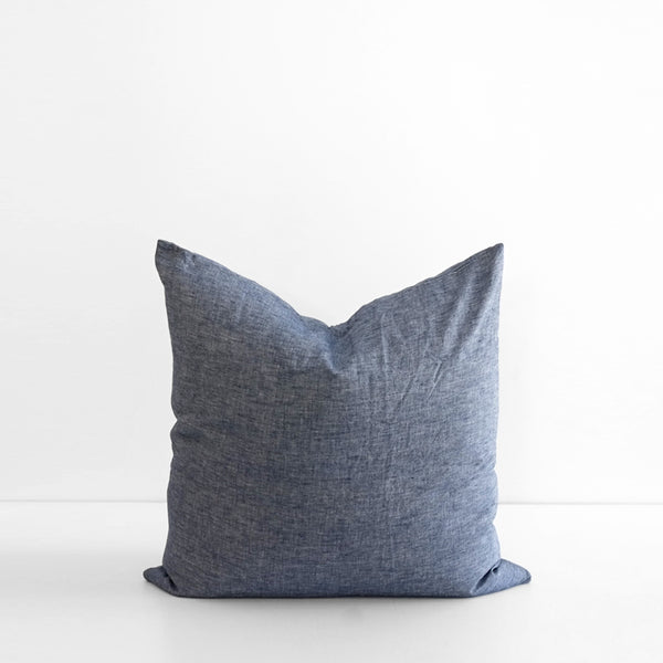 A&C Flax Linen Euro Pillowcase - Chambray Blue