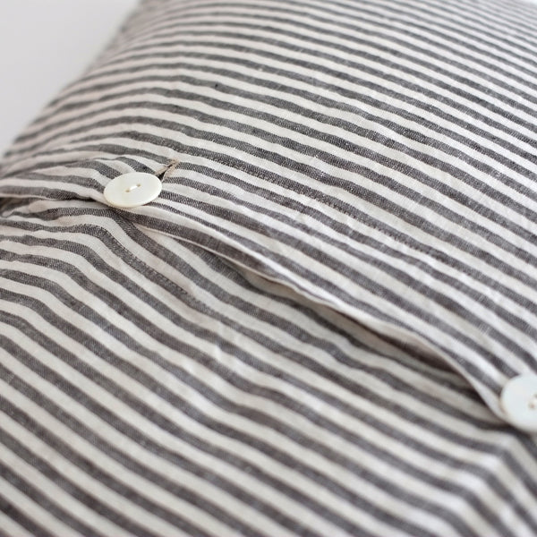 A&C Flax Linen Euro Pillowcase - Charcoal Stripe