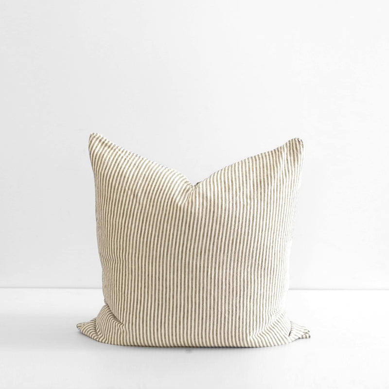 A&C Flax Linen Euro Pillowcase - Olive Stripe