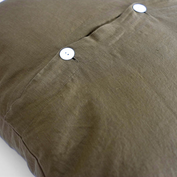 A&C Flax Linen Euro Pillowcase - Olive