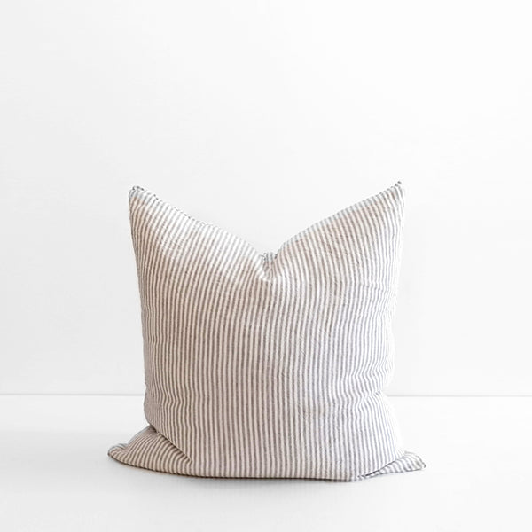 A&C Flax Linen Euro Pillowcase - Stripe Grey