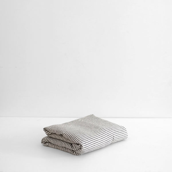 A&C Flax Linen Flat Sheet- Charcoal Stripe
