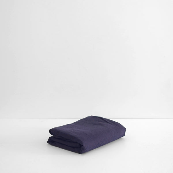 A&C Flax Linen Flat Sheet - Midnight Navy