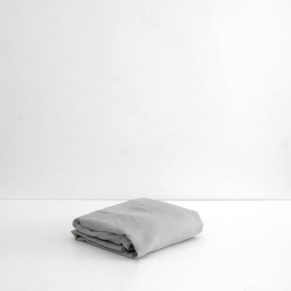 A&C Flax Linen Fitted Sheet - Smoke Grey