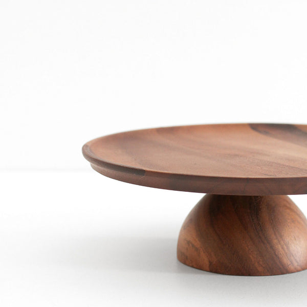 Acacia Wood Footed Cake Stand