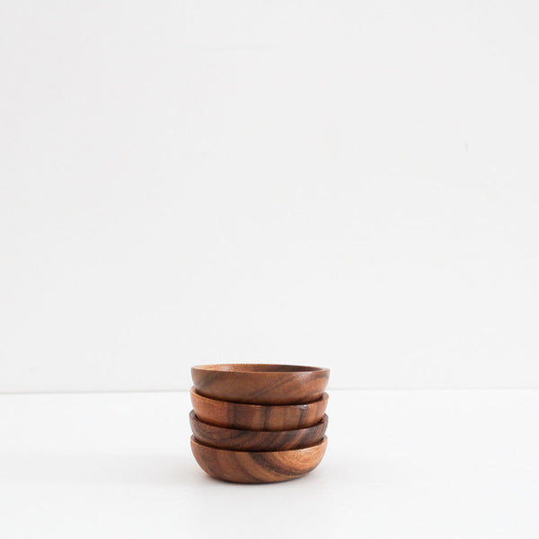Acacia Wood Round Bowl Set of 4